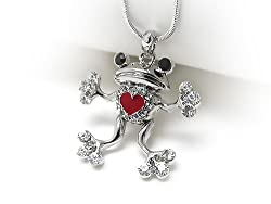 Silvertone Crystal Frog in Love Pendant Necklace