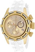 Invicta Bolt Women's Quartz Watch with Gold Dial  Chronograph display on White Silicone Strap 16107