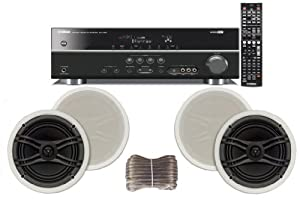 """Yamaha 3D-Ready 5.1-Channel 500 Watts Digital Home Theater Audio/Video Receiver with 1080p-compatible HDMI repeater & Upgraded CINEMA DSP + Yamaha Custom Easy-to-install Natural Sound In-Ceiling Flush Mount 2-Way 120 watt 2 Speaker Set (1 Pair) with 1"""" Tweeters & 8"""" Woofer + 100ft 16 AWG Speaker Wire"""