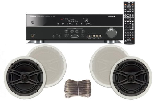 Yamaha 3D-Ready 5.1-Channel 500 Watts Digital Home Theater Audio/Video Receiver With 1080P-Compatible Hdmi Repeater & Upgraded Cinema Dsp + Yamaha Custom Easy-To-Install Natural Sound In-Ceiling Flush Mount 3-Way 120 Watt 2 Speaker Set (1 Pair) With Dual