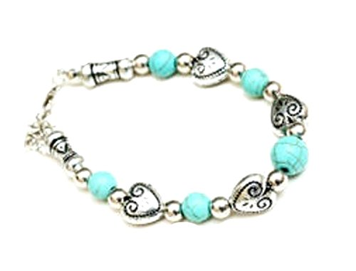 Southwest Bracelet With Heart Shaped Silvertone Hearts And Dyed Turquoise Beads