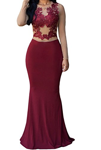 Zkess Women's High Neck Lace Prom Ball Evening Gowns Maxi Dress (Medium, Red)