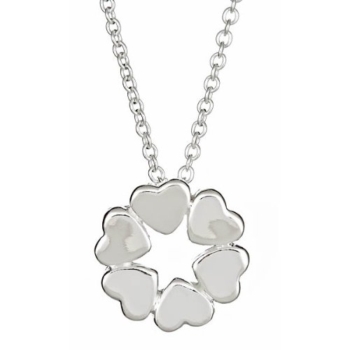 Sterling Silver Crown of Hearts Pendant Necklace