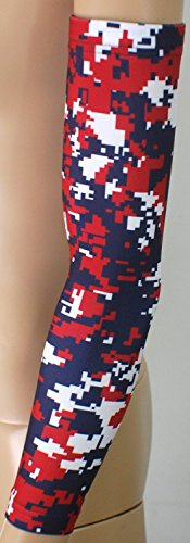 Nexxgen Sports Apparel Moisture Wicking Compression Arm Sleeve (Single) - Men, Women & Youth - 40 Colors - Digital Camo & Elite (X-large, Navy Blue/red/white)