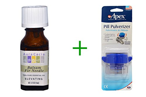 Best Aura Cacia, 100% Pure Essential Oil, Balsam Fir Needle, Elevating, .5 fl oz (15 ml), ( 3 PACK ), Apex, Pill Pulverizer
