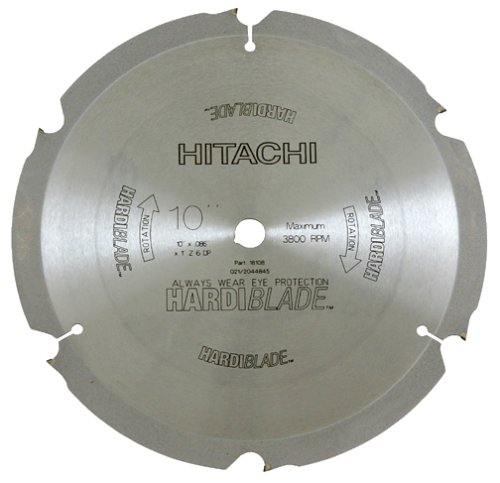 Hitachi 18108 10-Inch 6 Tooth Fiber Cement Cutting Blade with 5/8-Inch Arbor