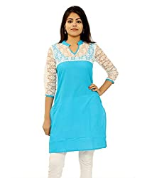 INDIA FASHION SHOP BLUE WHITE BRASSO COTTON KURTI--