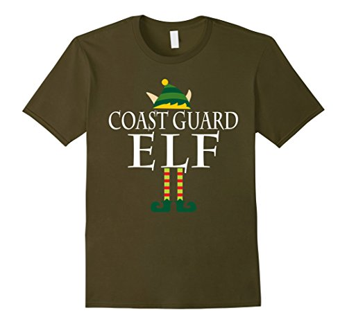 [Men's Coast Guard Elf Shirt - Funny Christmas Costume Gift 2XL Olive] (Coast Guard Costumes For Kids)
