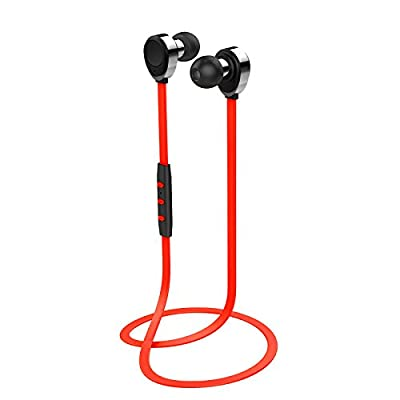 Signstek Universal Bluetooth Wireless Stereo Handsfree Sport Headset Headphone Earphone for iPhone Samsung LG HTC Sony Android PC Laptop with Microphone Ear buds Sweat Proof *Red*