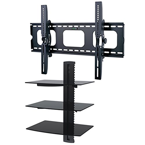 2Xhome - Tv Wall Mount Bracket & Three (3) Triple Shelf Package - Led Lcd Plasma Smart 3D Wifi Flat Panel Screen Monitor Moniter Display Displays - Flat Thin Slim Sleek Against The Wall Adjusting Adjustable - 3 Tier Under Tv Tempered Glass Floating Hangin