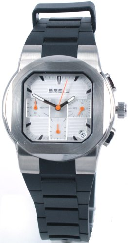 Breil Men's Step Quartz Watch TW0591 with Silver Chronograph Dial, Date, Stainless Steel Case, Black Polyurethane Strap
