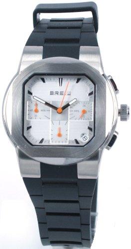 Breil Men's Step Quartz Watch TW0591 with Silver Chronograph Dial, Date, Stainless Steel Case, Black Polyurethane Strap