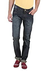 Routeen Blue Washed Slim Fit Mid Rise Cotton Branded Jeans for Men