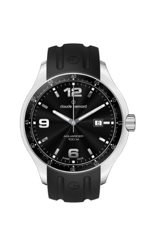 Claude Bernard Men's 70164 3 NIN Aquarider Black Dial Rubber Date Watch