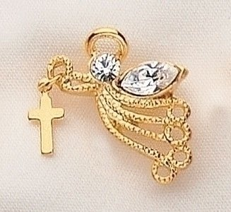 Club Pack of 12 Gold Plated Religious Angel Cross Dangle Pins
