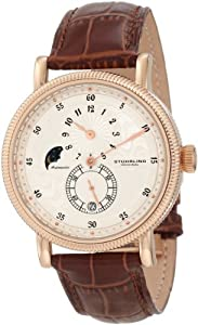 Stuhrling Original Men's 97.3345K2 Symphony Operetta Automatic Date Multi Function Rose Tone Brown Leather Strap Watch