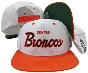 Denver Broncos White Blue Script Two Tone Adjustable Snapback Hat Cap by Reebok