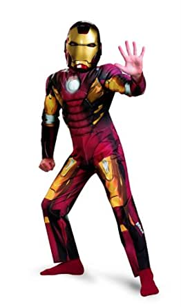 Avengers Iron Man Mark 7 Classic Muscle Costume, Red/Gold, Small
