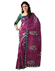Aasri Women Raw Silk Purple Pink Embroidered Saree With Blouse Piece