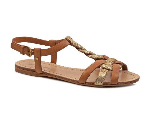 Sandali bassi Car Shoe donna in pelle Marrone e brillantini - Codice modello: KDX09H 5HL F0018 - Taglia: 36 IT