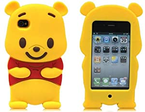 niceEshop Yellow Iphone 4 case 3D Cute Disney Winnie The Pooh Bear soft silicone case cover For Iphone 4 4g 4s (4th Generation)