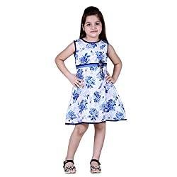 NAVEENS Cotton Blue Round Neck Party wear Dress for Girls