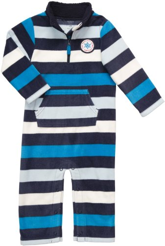 Carter'S Infant Long Sleeve One Piece Fleece Coverall - Blue Stripes-24 Months front-160981