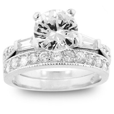 Silver-Tone Cubic Zirconia Ring with Matching Eternity Band Ring Size: 9