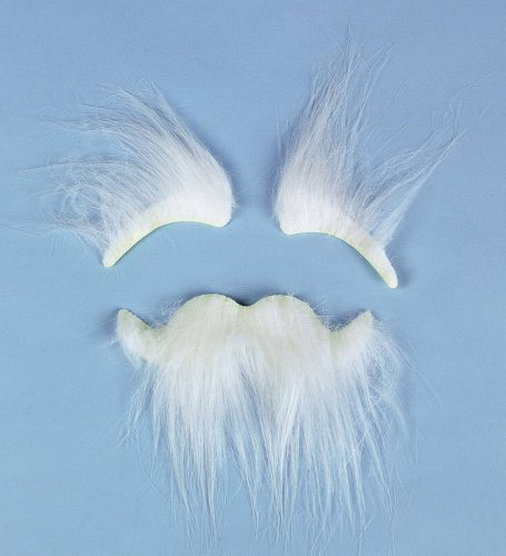 Synthetic Stick-On White Bushy Eyebrows And Mustache - Costume Accessory