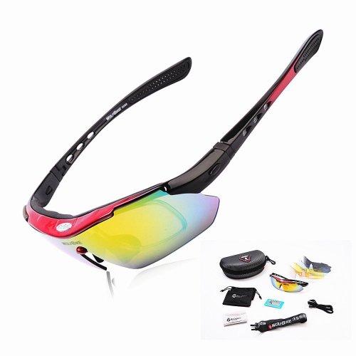 【Bellstone】全5色フレーム アウトドア・自転車・屋外スポーツサングラス 偏光レンズ1組 UV400/紫外線カットレンズ4組 5枚レンズ交換可能 レンズ分離型 人間工学的設計 Polarized Cycling Sunglasses Outdoor Sports Bicycle Sun Glasses Bike Sunglasses Running Driving Racing Ski Googles Eyewear Cool with Exchangeable 5 Lens (レッド フレーム)