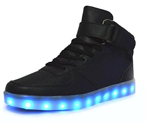 Led Scarpe Schuhe Kinder Scarpe Donna Uomo Sneakers Men Women Shoes Light Up 7 color Led Shoes High Top nero 39