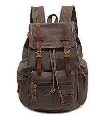 Vere Gloria Unisex Canvas Leather Hiking Backpack Bags for for Camping Travel Bicycling Trekking Outdoor Sports, Army Green, 15-Inch