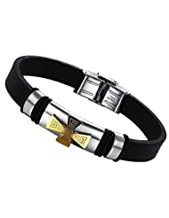 AnazoZ Men's Fashion Bracelet PU Leather Chain Golden Stainless Steel Cross Black 22CM