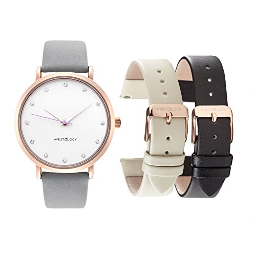 WRISTOLOGY-Olivia-Womens-Rose-Gold-Crystal-Boyfriend-Watch-Set-3-Straps-Grey-Black-Beige-Leather-Bands
