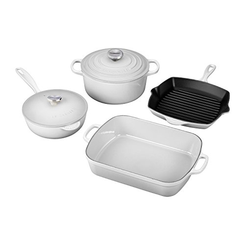Le Creuset Signature White Enameled Cast Iron 6 Piece Cookware Set (White Cast Iron Pot compare prices)