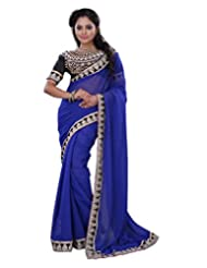 Surat Tex Blue Chiffon Casual Wear Embroidered Sarees With Blouse Piece-F78SE1002SU
