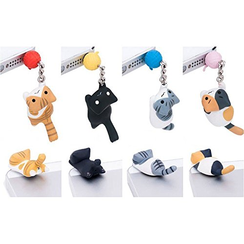 iAnko® 4 Pcs (Whole Set) Cheese Tabby Cat Catching Ball Dust Plug Stopper Universal 3.5mm Anti Dust Earphone Jack Plug Cap for Iphone4/4s/5/6/6 Plus,ipod,ipad,htc,samsung S3 S4 S5 (S5 Anti Dust Plug compare prices)
