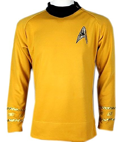 Star Trek Captain Kirk Spock Classic Shirt Costume Uniform TOS (L, Gold)