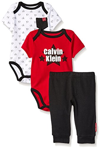 Calvin Klein Baby Boys' 3 Piece Bodysuit and Pant Set, Red/Black, 6-9 Months