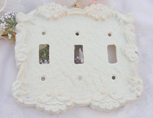 Antique White Cast Iron Triple Switch Cover Plate (Floral Wall Switch Covers compare prices)