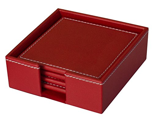 Dacasso Colors Faux Leather 4 Coaster Set with Holder, Rossa Red (Red Coasters compare prices)