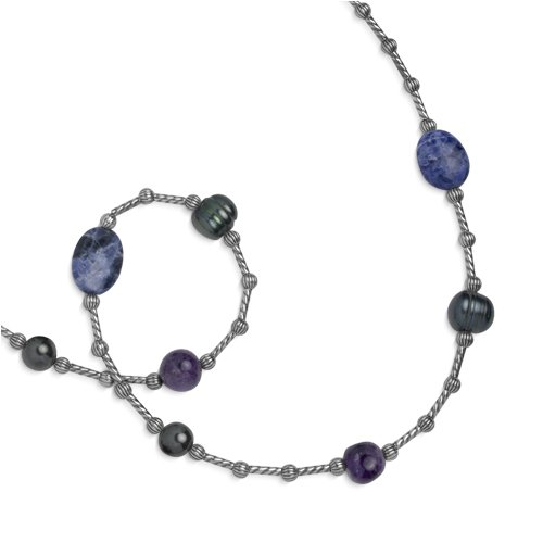 Southwest Spirit Sterling Silver Shades of Blue Beaded Station Necklace - 22.75