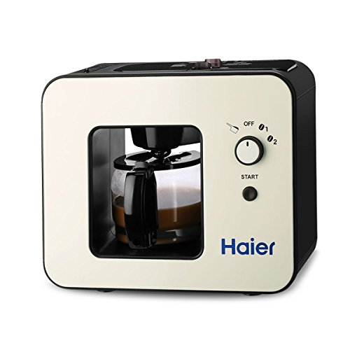Haier Grind and Brew Automatic 4-Cup Elegant Design Warming Plate Built-in Coffee Grinder Coffee Maker,Black