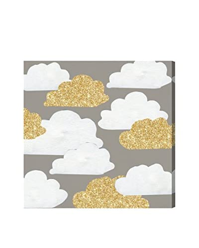 Olivia's Easel Kids' Gold Clouds Canvas Art, Multi, 20 x 20