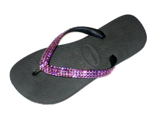 Cheap BLACK AMETHYST Swarovski Crystal Havaianas Flip Flops Sandals Thongs sizes 5-11 (B002HF9JP8)