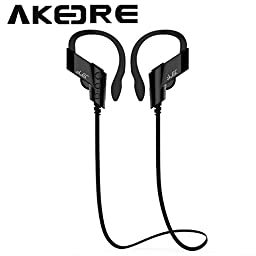 Bluetooth Headphones , AKEDRE® Wireless Sports Bluetooth V4.1 Headphones Sweatproof Running Exercise Stereo with Mic Earbuds Earphones for Iphone 6/6s Plus Galaxy S6 and Android Phones (Black)