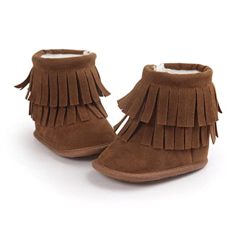 Voberry® Baby Toddler Girls Boys Winter Warm Snow Boot Tassels Trimmed Boots Outdoor (6~12Month, Khaki)