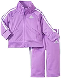 Adidas Baby Girls\' Iconic Tricot Jacket and Pant Set, Purple Basic, 18 Months