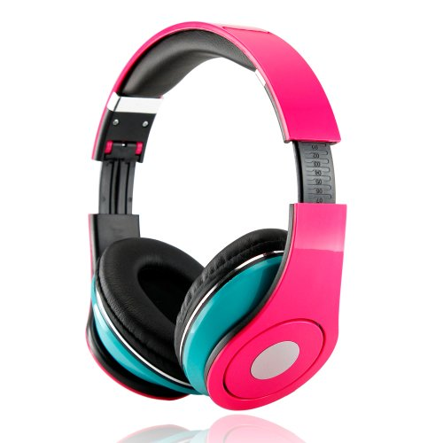 Gearonic Adjustable Circumaural 3.5Mm Over-Ear Stereo Headphone For Ipod Mp3, Mp4, Pc, Iphone Music - Non-Retail Packaging - Hot Pink/Blue