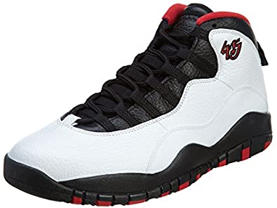 "Nike Mens Air Jordan Retro 10 ""Double Nickle"" White/Black-True Red Leather Size 8 Basketball Shoes"